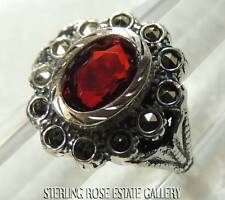 ART DECO ANTIQUE RED STONE 835 SILVER and VERMEIL COCKTAIL RING size 6.5