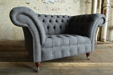 MODERN HANDMADE SLATE GREY WOOL 1.5 SEATER CHESTERFIELD SNUGGLE CHAIR LOVE SEAT