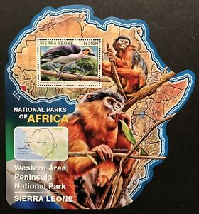 SIERRA LEONE WILD ANIMALS MAP SHAPED STAMPS 2016 COLOBUS WHITE NECKED ROCKFOWL
