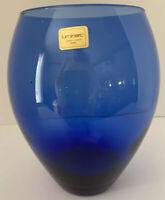 "New With Label Luminarc Cobalt Blue 7"" Tall 4"" Diameter"