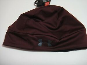 Under Armour Men Coldgear Run Reflective Beanie Hat Color Burgundy One Size