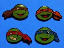 TEENAGE MUTANT NINJA TURTLES - SMALLER FACE - 4 VINTAGE PINS LOT - HAT PIN