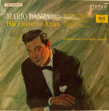 "Mario Lanza Sings His Favorite Arias Verdi Puccini Ray Sinatra 12 "" LP (H831)"