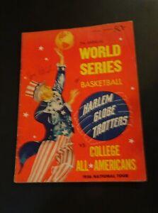HARLEM GLOBE TROTTERS Official Program World Series vs College  1956 Signed