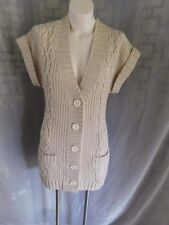 Express Beige Gold Lurex Cable Knit Wool Short Sleeve Buttoned Cardigan Sweater