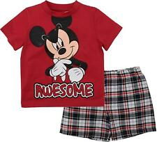 Disney Toddler Boys' Mickey Mouse Plaid Short Set with T-Shirt