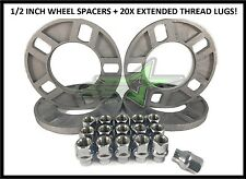 "4 JEEP WHEEL SPACERS 1/2"" INCH + 1/2x20 CHROME EXTENDED THREAD LUG NUTS"