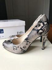FAITH Designer Ladies Women Court High Heel Shoe Leather Black & Beige Size 4 37