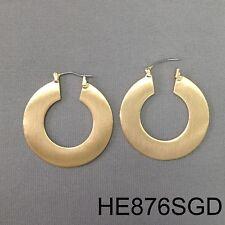 Elegant & Simple Gold Finish Wide Metal Flat Round Medium Hoop Closure Earrings