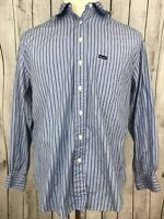 Facconable Men's Long Sleeve Button Down Blue Striped Embroidered Shirt Size L