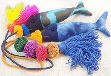 Set 2 Pcs Blue Pom Pom Fish Key Chain Rainbow Multi Tassel Line Bags Accessories