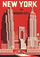 New York Wonder City deco style  Poster Cavallini & Co 20 x 28 Wrap