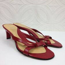 Women's FIONI Red Slip On Strappy Heeled Sandals Slides w/ Bow EUC! Size 9.5