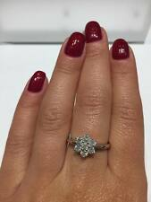 18CT WHITE GOLD 0.75CT GSI DIAMONDS CLUSTER LADY RING engagement  GOY163