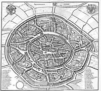 MAP ANTIQUE MERIAN 1647 AACHEN CITY PLAN OLD LARGE REPLICA POSTER PRINT PAM1072