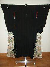 Elegant Japanese Silk Hand-painted Tomesode Kimono - Mirror Image
