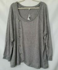 New Maurices Womens Size 3 Tunic Sweater Gray Long Sleeves Thin Knit -E16