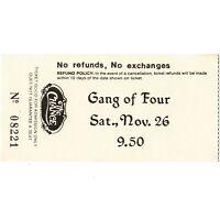 GANG OF FOUR Concert Ticket Stub POUGHKEEPSIE NY 11/26/83 CHANCE HARD TOUR Rare
