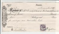 Alnwick Received 1891 Wages Due November Last E. Pigdon Stamp Receipt Ref 38256