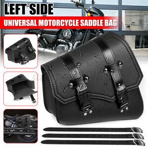 Left Side Universal Motorcycle Saddle Bag Tool Storage Luggage PU Leather AU