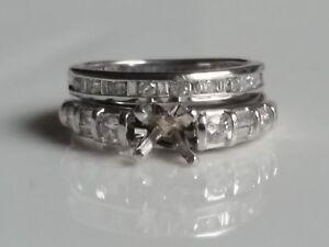 14k Semi-mount 0.89 Tc Diamonds setting Ring For Round +Diamonds Wedding  Band