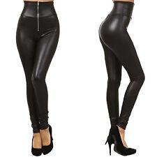 Fashion Sexy Women High Waist Black Stretchy Faux Leather Pants Leggings