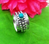 Turquoise Solid 925 Sterling Silver Spinner Ring Meditation statement Ring SR400