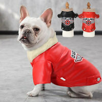 Cool Dog Leather Jacket soft Windproof Warm Dog Coats Clothes for French Bulldog