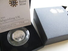 2010 UK 50p Piedfort Silver Proof Girlguiding. 1500 max presentation. Box/COA