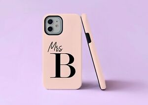 Wedding Mrs Initials Bride 2 in 1 Hybrid Tough Phone Case/Cover For iPhone UK