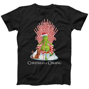 Christmas Is Coming Grinch Candy Cane Throne Funny Christmas T-shirt | Xmas Gift