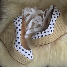 Authentic Christian Louboutin 6 39 Wedges Espadrilles White Leather Heels Spikes