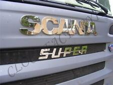 Two Signs Scania+Super Made Of Polished Stainless Steel for 2004-2009 Years
