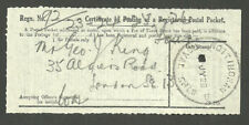 CERTIFICATE OF POSTING OF A REGISTERED PACKET NOTTINGHAM ROYAL SHOW JY 1928