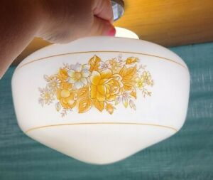 """Ceiling Light Milk Glass Shade Globe Brown Flowers 3 3/4"""" Fitter Replacement"""