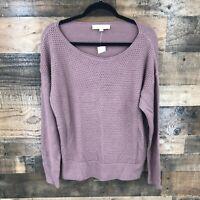 New Ann Taylor Loft Women's Mauve Open Weave Merino Wool Pullover Sweater Size L