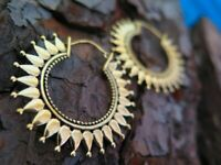 Large Brass Tribal Gypsy Ethnic Mandala Earrings Bohemian Gold Plated Hoops
