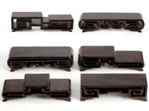 Ebony Wood Stand Antique Stone Jewelry Craft Seal Cup Rack Display Base