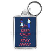 Virus Keep Calm Stay Away Social Distancing Keyring Gift Key Fob | Medium Size
