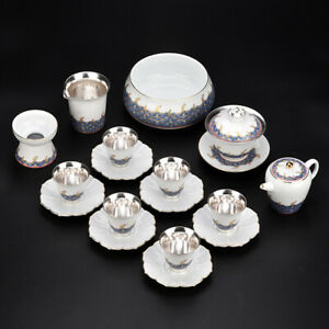 999 sterling silver tea set Luxury hand painted tea set tea pot gaiwan tea cups