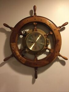 "18"" Wooden Ship's Steering Wheel with Brass Porthole Clock Nautical"