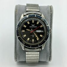 Vintage Waltham Swiss Automatic 25J Day/Date Incabloc Mens Divers Watch Runs