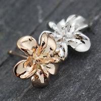 New 18K Rose Gold / White Gold Plated Cute Jasmine Flower Ladies Stud Earrings