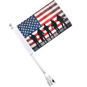Motorcycle Chrome Flag Pole American Flag Luggage Rack Mount For Harley Davidson