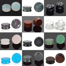 BLUE BRUSHED Polished Stone Ear Plugs Piercing Tunnels Guages Stretchers PL152