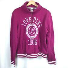 Victoria's Secret Love Pink 1/4 Zip Jacket Large Hot Pink Athletic