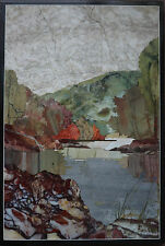JASPER Florentine mosaic Pietra dura « Mountain lake » 335x220 mm