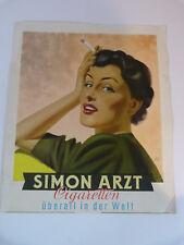 Plakat Simon Arzt, Frau, Zigaretten, Zigarettenwerbung 37,5 x 32
