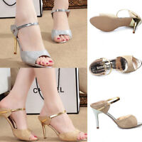 Summer Women Shiny Peep Toe Pump Stiletto Sandals High Heel Slipper Court Shoes