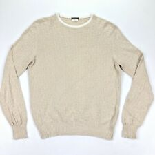 Avon Celli Luxury Sweater Jumper Textured Cotton Tan Khaki • Italy • Size 52